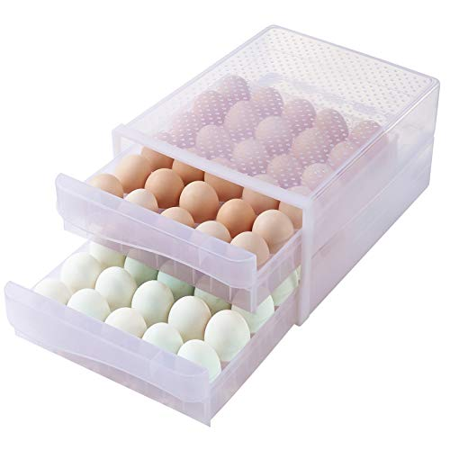 Hershuing 60 Grid Large Capacity Egg Holder for Refrigerator, Household Egg Fresh Storage Box for Fridge, Multi-Layer Chicken Egg Storage Container