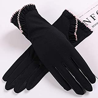 SHENTIANWEI Women's Non-slip Sunscreen Gloves Ice Silk Anti-UV Thin Section Breathable All-female Driving Short Section (Color : Black, Size : One size-Five pairs)