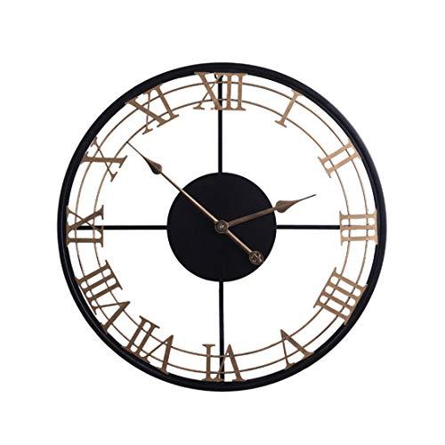 Kepae Wanduhr im Vintage-Stil Metall Römischen Ziffern Uhr Groß, Leise Quartzwerk, Ø ca. 60 cm