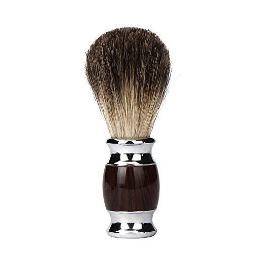 Pennello Da Barba In Tasso Di Puro Tasso Pennello Da Barba Manuale Per Uomo Con Manico In Metallo A Grana Di Legno Per Rasoio A Doppio Bordo Da Barba Bagnato