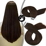 Moresoo 16Pulgadas/40cm Extensiones Cinta Adhesiva de Pelo Natural Cabello Humano #4...