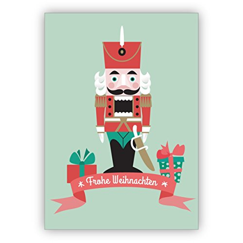 Kartenkaufrausch vrolijke kerstkaart met notenkraker en cadeau: Vrolijk Kerstmis • als kerstwenskaart voor jaarwisseling voor familie en bedrijf