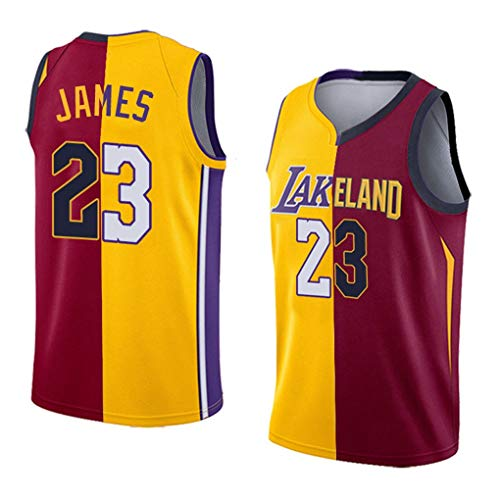 Senza Maniche T-Shirt Basket Splice Maglie Lebron James 23 Los Angeles Lakers Cleveland Cavaliers Unisex Nuovi Uomini Ricamati Tessuto Uniforme NBA Swingman Jersey (Color : A, Size : M)