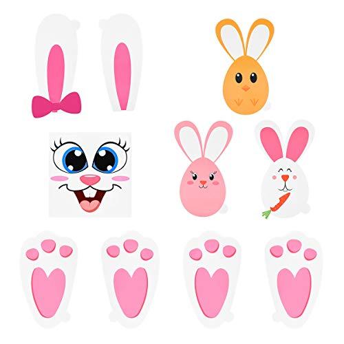 BESTOYARD Osterhase Paw Prints Aufkleber Set Ei Hase Gesicht Aufkleber für Kinder Party Game Garten Ei Jagd Spiel Ostern Tag Favors
