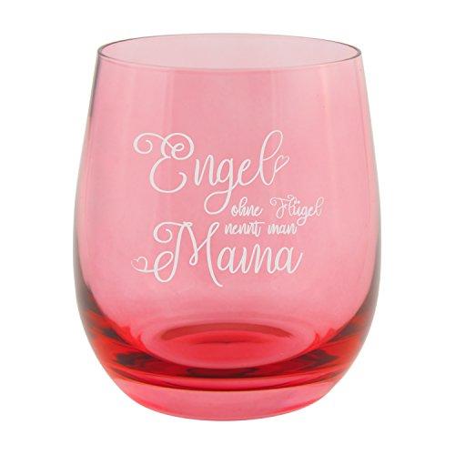 Teelicht – Engel ohne Flügel nennt man Mama (Rot): Kerzenhalter graviert für Mütter – Teelichthalter Blau, Rot, Lila, Grau, Klar von Leonardo – Glas Windlicht zum Muttertag I Muttertagsgeschenk