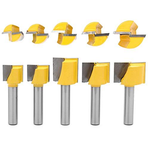 DingGreat 5Pcs 8 mm Gambo Fresa per la Pulizia del Fondo Fresa per la Lavorazione del Legno Utensile per Ll Taglio di Macchine per Intagliare CNC Diametro 16/18/20/22/25mm