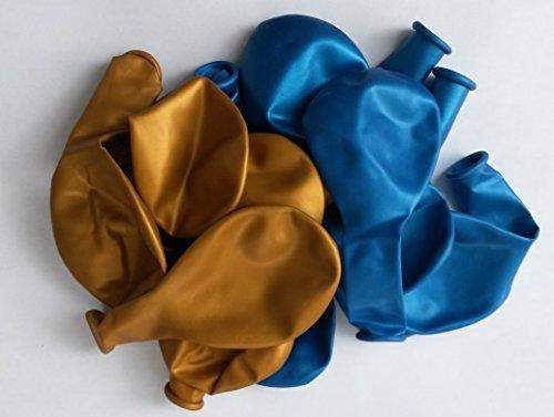 Sachsen Versand 50 globos de aire de color azul y dorado metálico brillante, para decoración de fiestas de cumpleaños o para fiestas, aptos para helio