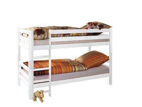 Etagenbett Beni mit Leiter, 90 x 200 cm Farbe: Weiß lackiert