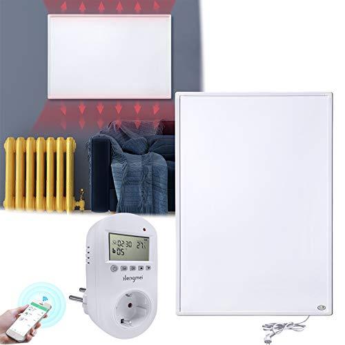 HENGMEI Infrarotheizung 600W mit Thermostat, APP WiFi Funktionen GS Tüv Prüfsiegel Wandheizung Elektroheizung Wand- Deckenmontage Überhitzungsschutz IP54 Schutz Heizpaneel