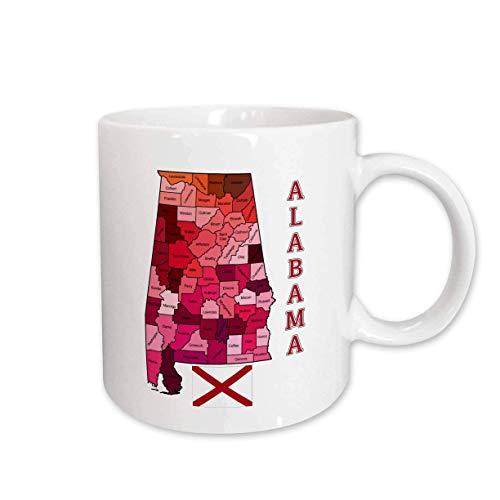 N\A Mapa y Bandera del Estado de Alabama Muestra la Taza de cerámica de Cada Condado, Color Blanco