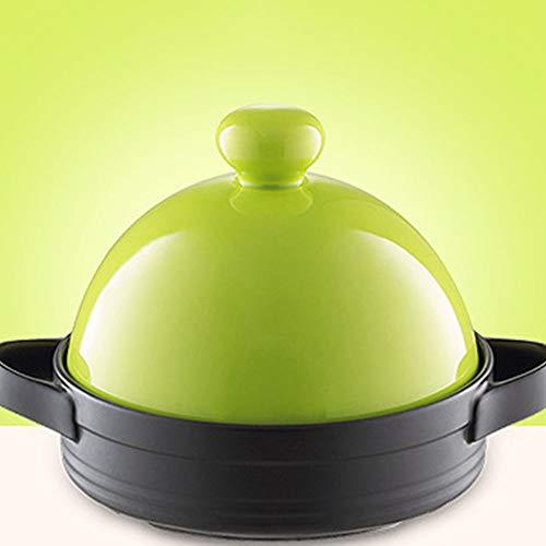 LILIJIA Pot en Céramique Multifonctionnel Cuisine Marocaine Fait Main 100% sans Plomb, Résistant Chaleur Micro-Pression en Céramique Fond Plat Ragoût Pot en Argile Casserole Riz,Vert