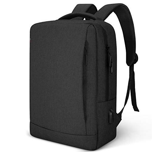 Travel Laptop Backpack, Business Anti Theft Slim Durable Laptops Backpack with USB Charging Port, Water Resistant College School Computer Bag Gifts for Men & Women Fits 15.6 Inch Notebook (Black)