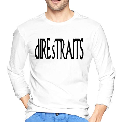 Dire Straits Band Logo Men T Shirts Round Neck Long Sleeve Slim-fit Tee Tops White XXL