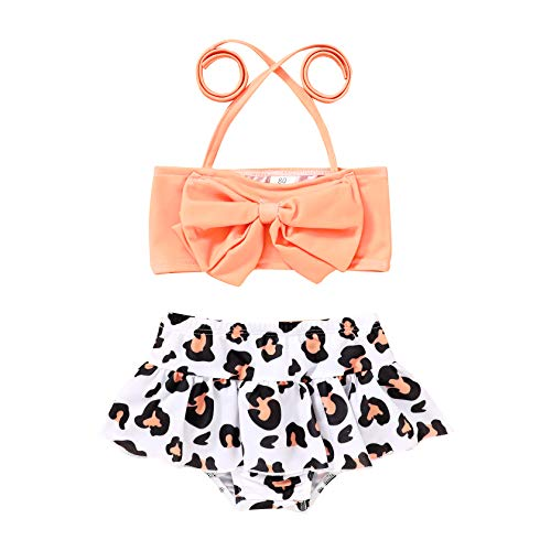 JEELLIGULAR Toddler Baby Girl Swimwear Bowknot Stripe Swimsuit Bathing Suit 2Pcs Bikini Set Outfits Summer (12-18 Months, Leopard Print)