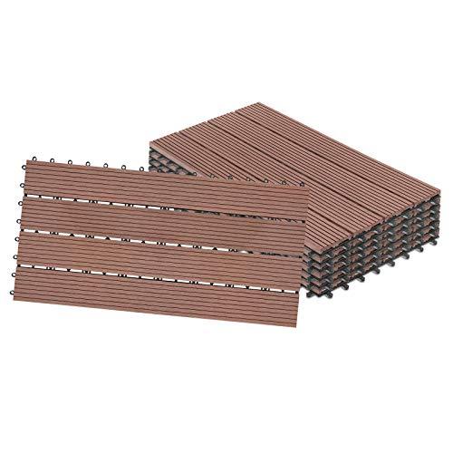 Aufun - 12 piastrelle per balconi, terrazze e terrazze, in plastica WPC, effetto legno, assemblabili, ca. 2 m² (30 x 60 cm, marrone)