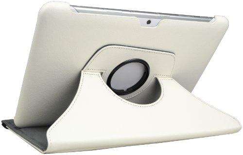 DONZO Leder Flip Case Tasche Etui für Samsung Galaxy Tablets, Structure 360 - White, Samsung Galaxy Tab 2 10.1 (P5100 & 5110)