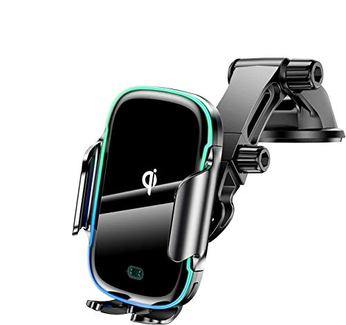 KLT Wireless Car Charger Mount 15W Qi Fast Charging Auto-Clamping Windshield Dash Air Vent Car Phone Holder Compatible with iPhone 12 Pro/XS/X/XR, Samsung S10/S9/S8/S8+