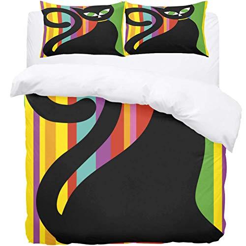 Josid - Juego de funda nórdica y funda de almohada para cama de matrimonio, diseño de gato negro con rayas, 3 piezas, con cierre de cremallera, 1 funda de edredón y 2 fundas de almohada, microfibra de alta calidad, colcha para niños de tamaño individual