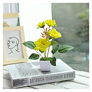 KEHUITONG PSGS Artificial Plastic Bonsai Fake Plants Flower Wedding Home Decor Garden Hotel Potted Artificial Fake Plastic Bonsai Plant Tree (Color : Yellow Pansy)