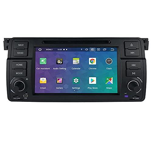 Android 10 Autoradio per BMW E46 Sedam/Coupe/Convertible/Touring/Hatchback/M3/Rover 75/MG ZT per BMW Radio Bluetooth Comandi al Volante GPS DVR DSP 4G USB Wifi Retrocamera Ingresso DVD Pulsanti LED