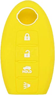 DSP Silicone Cover Protector Case Skin Jacket fit for NISSAN 5 Button Smart Remote Key Fob CV2502 Yellow