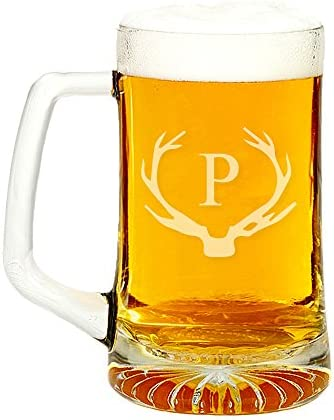 Antler Initial Glass Beer Mug 15 ounce Letter P product image