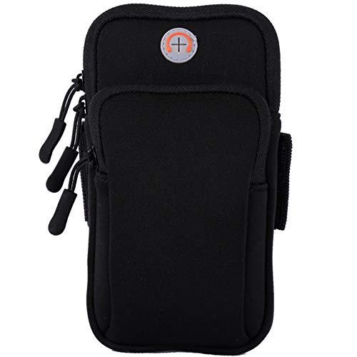 Bracciolo, Universal Water Resistant Bounce-Free Sport Bracciale Porta telefono auricolari per iPhone Xs Max 8 7 6 6S Plus, Galaxy S9 Plus S9 S8 S7 - Corsa, Palestra, Outdoor, Allenamento (Nero)
