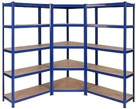 Kit de estanterías para esquinas de servicio pesado, 1 unidad de esquina 1500mm x 750mm x 300mm y 2 unidades de estantería 1500mm H x 750mm W x 300mm D, capacidad de almacenamiento masivo de 2250
