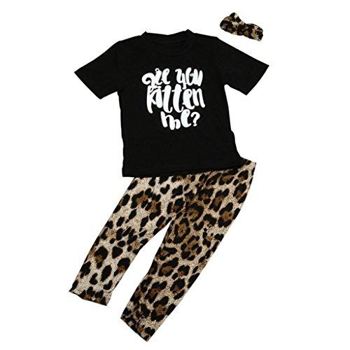 VENMO Kleinkind Baby Jungen Mädchen Outfits Kleidung T-Shirt Tops + Leopard Hosen Stirnband Set (Black, Size:24M)