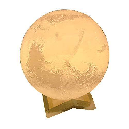 XXLYY 3D Mondscheinlampe mit 7 Farben, Marslampe, Komfortable Mondlampe mit Ständer, Romantisches Mondlicht Nachtlicht, Mars Nachtlicht 10 cm