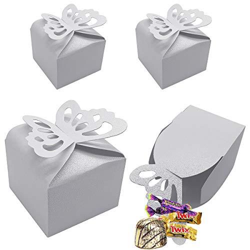CCUCKY 25 Piezas Caja de Dulces de Mariposa, Favores de Boda Cajas de Azúcar, Duchas Nupciales Fiestas Regalos Decoración de Mesa (Blanco)