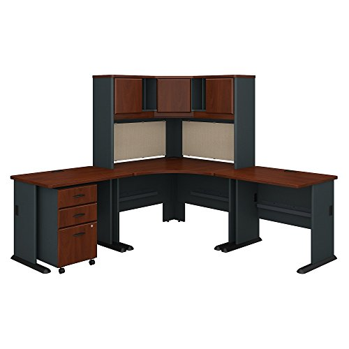 Bush Business Furniture Series A 84W X 84D Corner Desk with Hutch and Mobile File Cabinet - Hansen Cherry/Galaxy 83W X 83D X 66H ERGONOMICHOME BUSH BUSINESS FURNITURE