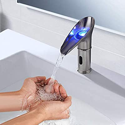 BULUXE Touchless Electronic Bathroom Sink Waterfall Faucet with LED Single Hole in Brushed Nickel