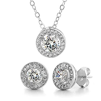 MIA SARINE Rhodium Plated Sterling Silver Round Halo Cubic Zirconia Earrings and Necklace Jewelry Set (White)