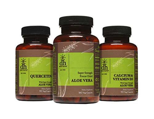 Desert Harvest Interstitial Cystitis Starter Kit – Ideal Starter Supplements for IC / BPS - Super Strength Aloe Vera Capsules + Calcium/Vitamin D3 + Quercetin