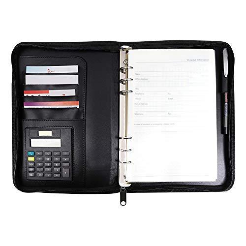 Agenda Personale A5 con Calcolatrice in Finta Pelle PU da Kurtzy- Raccoglitore ad Anelli - Notebook Ricaricabile- Porta Biglietti da Visita e Portapenne - Chiusura con Zip - Per Uomini e Donne