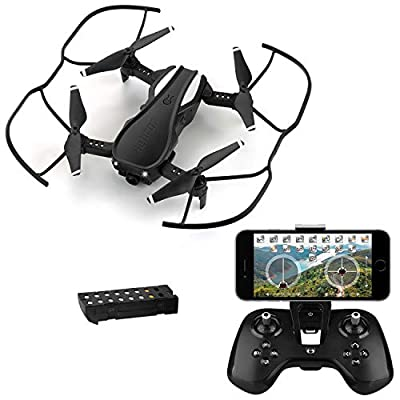 HELIFAR WiFi FPV Drone with 720P HD Camera, H1 Wide-Angle Live Video RC Quadcopter Foldable, Altitude Hold, Gravity Sensor Function, RTF and Easy to Fly for Beginner, with Modular Battery