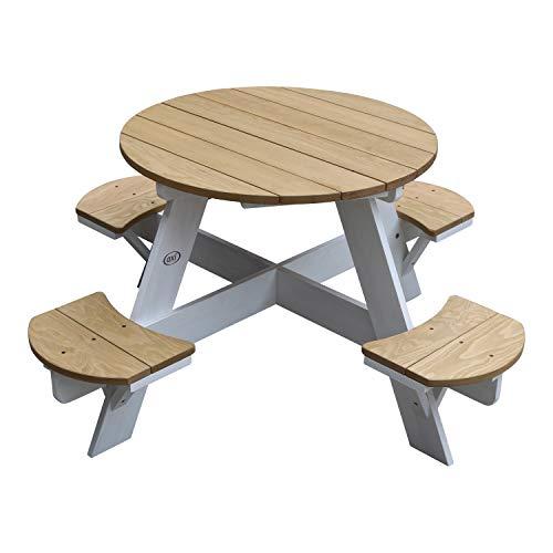 AXI UFO Picknicktisch Rund für Kinder aus Holz | Runder Kindertisch für den Garten in Braun & Weiß mit 4 Sitzen