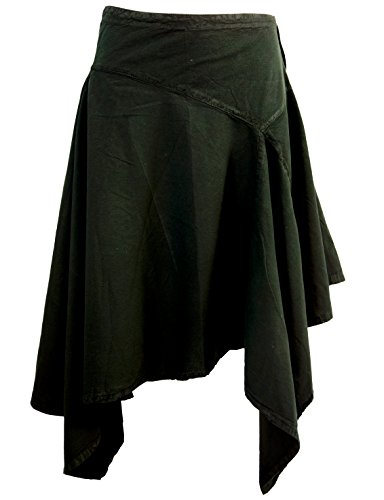 Guru-Shop Boho Zipfelrock, Pixirock, Damen, Schwarz, Baumwolle, Size:L (40), Röcke/Kurz Alternative Bekleidung