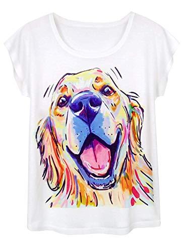Doballa Damen Pitbull Hund T-Shirt Lustige Muster Kurzarm Niedlich Oberteile, Golden Retriever, S
