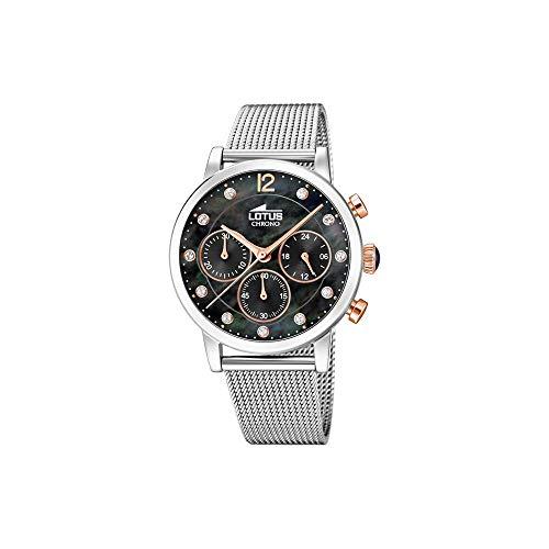 Lotus dames chronograaf kwarts horloge met roestvrij stalen armband 18676/4
