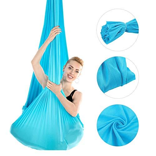 Hamaca de Yoga Aérea - Hamaca con Columpio Oscilante 2,8 m - Duradera y Elástica - Juego de Columpio de Yoga Aérea - Fibra de Poliamida Entrenamiento Físico(Azul)
