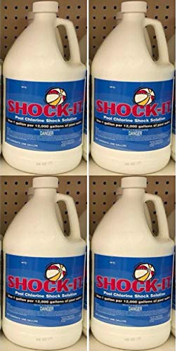 4- Gallons of Shock-It -Liquid Chlorine Pool Shock - Commercial Grade 12.5% Concentrated Strength - 1 Case