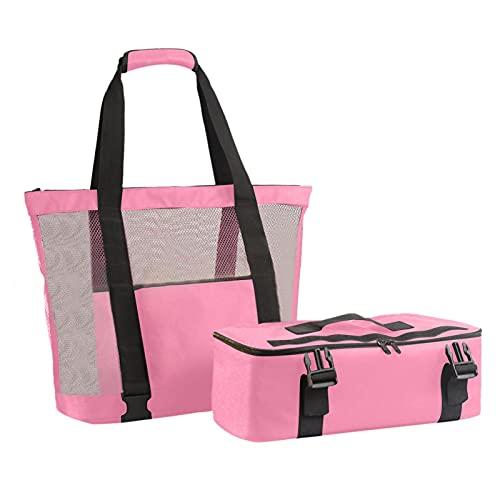 lineEUbea Bolsa de playa – Dos en una bolsa de almacenamiento desmontable, bolsa de aislamiento con cremallera, separación seca y húmeda, preservación del calor, gran capacidad, lona, 704017 cm