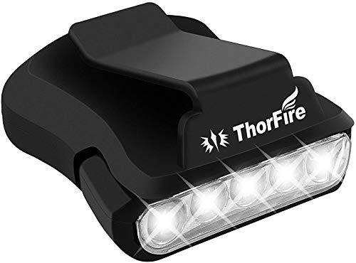 ThorFire Clip 5 LED Torcia da Testa Girevole a Sfera Cap Visiera Luce a Mani Libere per Caccia, Campeggio, Pesca, Nero