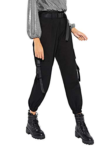 Milumia Women's Casual High Waisted Belted Cargo Joggers Workout Pants with Pocket Black Small