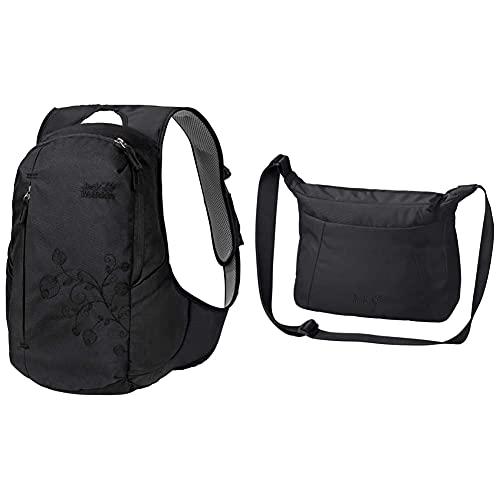 Jack Wolfskin Ancona, komfortabler Tagesrucksack für Frauen, Damen Rucksack mit schlankem Schnitt, praktischer Backpack extra für Frauen & Damen Umhängetasche VALPARAISO BAG, black, ONE SIZE