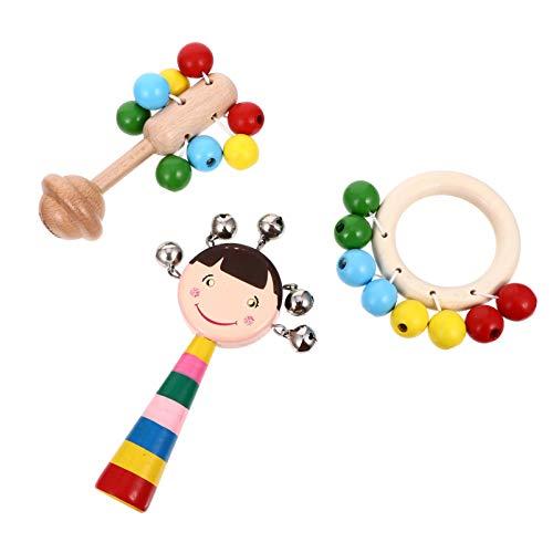 Toddmomy 3 Piezas Sonajeros Y Mordedores para Bebés Cascabeles de Madera Cascabeles Anillo de Dentición para Bebés Juguete para Masticar Arcoíris Jingle Stick Shaker Sonajero Juguete