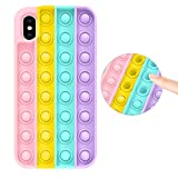 Fidget Toy Case for iPhone X/iPhone Xs, Stress Relief Anti-Anxiety Press Bubble Pops Silicone Rubber Protective Phone Case for Women, Girls & Kids, Rainbow