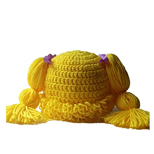 BIBITIME Knitted Pigtail Wig Beanie Handmade Women Girl's Braid Hat Bowknot Cap (Yellow, One Size)